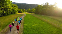Group of athletes running together Stock Footage
