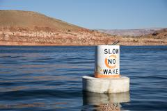 Slow No Wake marker in Lake Powell Stock Photos