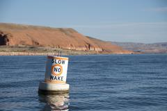 Slow No Wake Marker Stock Photos