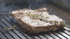 Steak on the grill Stock Footage