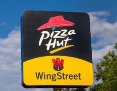 Pizza Hut Restaurant Sign and Logo. Stock Photos