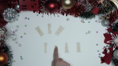4k Christmas Composition on a White Background- Wooden Letters: New Year - stock footage