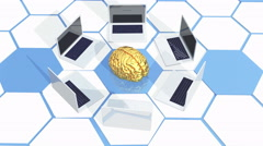 4k laptop around brain on the tech hexagon background,artificial intelligence. Stock Footage