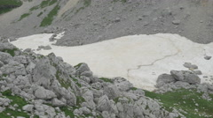 AERIAL: Scree fields with remnants of snow in the summer in rocky mountains Stock Footage