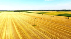 Flying over field with square hays 4K Stock Footage