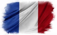French flag on plain background - stock illustration