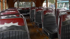 Interior design seats of the 1940´s Argentinian Urban Bus public transportation Stock Footage