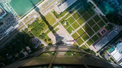 Down view from Ostankino television tower through viewing panel on the flor. Stock Footage
