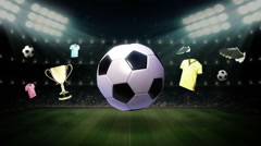 Around Soccer ball icon, football animation(included alpha) - stock footage