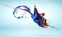 Dancer in jump - stock photo