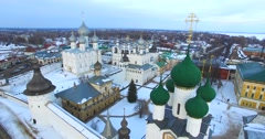 Aerial view of Kremlin (1670-1683) in russian town Rostov Velikiy. Stock Footage