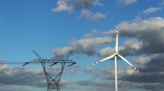 Time lapse wind power station turbines in sunny weather with clouds on wind Stock Footage