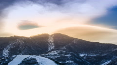 Timelapse: Sunset of Ski Field Resort on Mountains in Zhangjiakou, China. In 4K. Stock Footage
