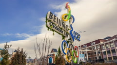 Timelapse: Olympic Rings in Chongli, Zhangjiakou, China. In 4K. Stock Footage