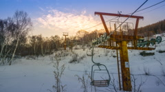 Timelapse: Disused Ski Field Resort Sunset with Chairlift, Zhangjiakou, China. Stock Footage