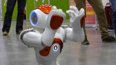 Humanoid autonomous robot AI - stock footage