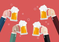 People clinking beer glasses - stock illustration