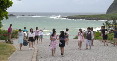 People Watch Rough Sea As Coastal Access Blocked Ahead Of Typhoon - stock footage