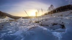 Timelapse: Ski Field Sunset, Snow Winter Scene in Chongli, Zhangjiakou, China. Stock Footage