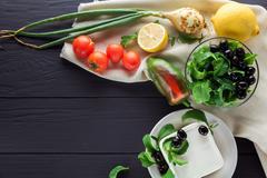 Ingredients for cooking Greek salad. Copyspace Stock Photos