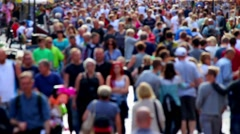 Anonymous street crowd backlight shot - stock footage