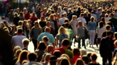 Anonymous street crowd backlight shot Stock Footage