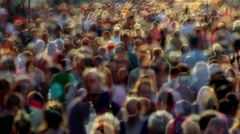 Transparent anonymous street crowd backlight shot Stock Footage
