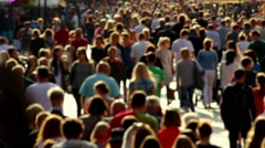 Slow motion anonymous street crowd backlight shot Stock Footage
