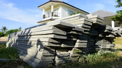 Cement sheets for home construction (dolly shot) Stock Footage