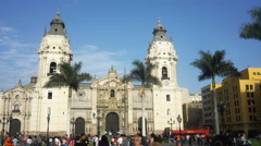 3 axis gimbal shot walking towards the cathedral in lima, peru Stock Footage