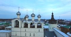 Aerial view of Kremlin (1670-1683) in russian town Rostov Velikiy. Stock Footage