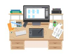 UI and UX app design workspace. - stock illustration