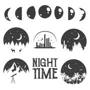Night time concept labels and emblems in monochrome vintage style Stock Illustration