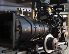 Professional digital video camera. accessories for 4k video cameras. - stock photo