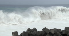 Huge Waves Spawned By Major Hurricane Crash Onto Beach Stock Footage