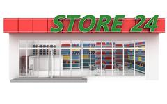 3D illustration of a 24-hour store with cafe Stock Illustration