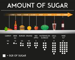 Amount of sugar in different food and products vector illustration - stock illustration