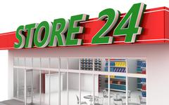 3D illustration of a 24-hour store with cafe - stock illustration