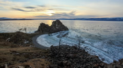 Sunset on Lake Baikal. Burkhan Cape, Olkhon island, Lake Baikal, Irkutsk region, Stock Footage