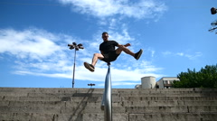 Parkour, freerun gymnasts sport. Seamless looping Stock Footage