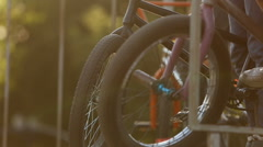 BMX wheels close up on a ramp - stock footage
