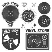 Vector set of vinyl disc and player. Music records store logotypes, design Stock Illustration