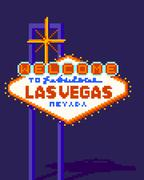 8 Bit Vegas Sign Night Piirros