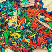 Colored pencil shavings Stock Photos