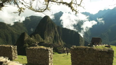 Machu picchu ruins and stone wall Stock Footage