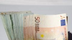 Euro banknotes Stock Footage