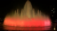Night shot of the magic fountain in the park of the reserve Stock Footage