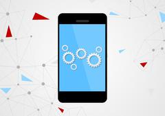 Mobile phone and gears on touchscreen Stock Illustration