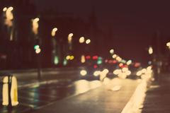 Artistic style - Defocused, blurred urban abstract traffic background Stock Photos