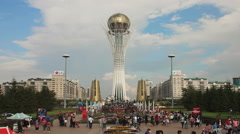 Bayterek Astana Evening 4k Zoom Out Stock Footage